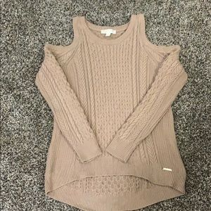 Michael Korda  cold shoulder cable knit sweater.